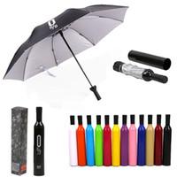 Moda Garrafa De Vinho Guarda-chuva Portátil 3 Dobrável Sol Chuva Anti-UV Presente Umbrella Criativo Garrafa De Vinho Tinto Em Forma de Design de Caso 12 Cores