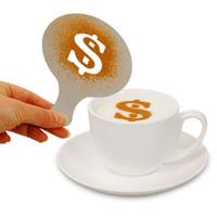카페 거품 스프레이 템플릿 바리 스타 스텐실 장식 도구 멋진 금형 플라스틱 12pcs / set 커피 인쇄 꽃 모델 DH0577-1
