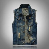 Bir Yırtık Delik Casual Vest Moda Erkek Giyim ile İnce Trend Erkek Denim Vest Erkek Artı boyutu Yelek