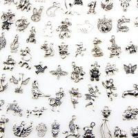 모듬 100 디자인 동물의 매력 고양이 돼지 베어 새 뱀 말 개 다람쥐 백조 황소 펜던트 DIY 목걸이 팔찌 보석 만들기
