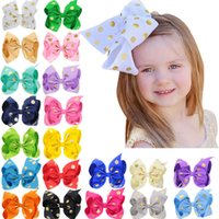 18cm Baby Girls Big bow Hair Clips Dot Bows Kids Dot Grosgra...