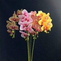 Faux tige unique Orchid Simulation Real Touch Latex Cymbidium orchidée Fleurs pour mariage décoratifs pour la maison de fleurs artificielles