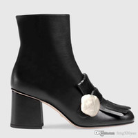 High Heeled Stiefel Designer Weiche Rindsleder Herbst Winter Grobe Ferse Frauen Schuhe 100% Echtleder Reißverschluss Mode Metallschnalle Lady Heels 6cm Große Größe 35-42 mit Box