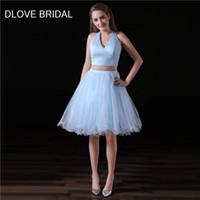 간단한 두 조각 홈 커밍 드레스 빛 스카이 블루 짧은 라인 홀터 Tulle 댄스 파티 파티 드레스 공장 사용자 정의 특별 한 제복 가운