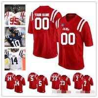 Camisetas personalizadas NCAA Ole Miss Rebels # 31 Jaylon Jones 1 A.J Brown 40 Josiah Coatney 97 Qaadir Sheppard Rojo Azul marino Blanco Camisetas de fútbol americano universitario NCAA