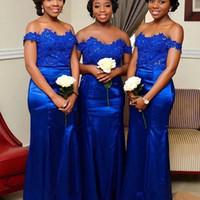 Royal Blue A spalle della sirena abiti da sposa pizzo applique in rilievo lungo damigella d'onore da partito degli abiti da sposa taglie forti personalizzato