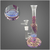 Purple gold wire Heady Glass Dab Rigs Straigh Tube Mini Bong...