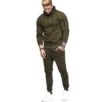 Womail los hombres del otoño remiendo camiseta de la cremallera Top Pantalones Conjuntos de Deportes Traje del chándal de los hombres de moda suéter flojo Conjunto M301203