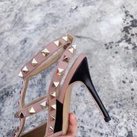 Sıcak Satış-Kadınlar Tasarımcı Dikenler kafesli ayak bileği kayışı pompası 2-6-10 cm TOP kalite% 100 Doğal deri Seksi Parti ayakkabı