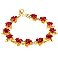 u7 سوار روز الأحمر الزهور الذهب اللون المعصم سلسلة سحر هدية عيد للنساء أزياء جديد مجوهرات الساخنة أساور فام