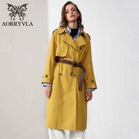 AORRYVLA PAMUK Bayan Trençkot Palto X-Uzun Sarı Turn-down Yaka Gevşek Stil Giyim Kemer Bahar Kadın Giysileri Ile 2020 Yeni