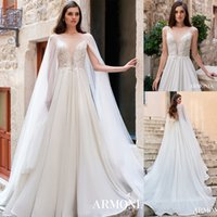 Modest Bohemian Tmarmonia A Line Wedding Dresses Jewel collo maniche Tulle Applique del merletto perle da sposa abiti sweep treno robe de mariée
