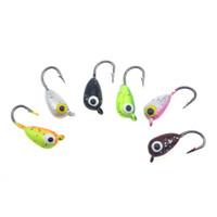 Rompin 6PCS / Lot Inverno ghiaccio giga Fishing Lure 1,8 centimetri 2.3g mini del metallo piombo Hook Head Bait Jigging Pesca spinato inverno amo da pesca
