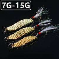 10 sztuk 7/10 / 15G (4/5 / 5,5 cm) Gold Leech Łyżki Haczyki Wędkarskie Fishhooks 6 # Hook Metal Baits Przynęty Wędkarstwo D-012