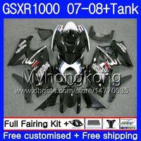 7Gifts + Tank Para SUZUKI GSXR-1000 K7 GSX-R1000 GSXR 1000 07 08 301HM.18 GSXR1000 07 08 Carrocería GSX R1000 2007 2008 Carenados Negro fresco caliente