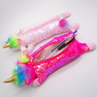 Unicorn Makyaj Çantaları İki Taraflı Geri Döner Mermaid Payetli Kalem Cepler Peluş Kozmetik Konteynerler Seyahat Taşınabilir Kalem Kutusu FFA2911