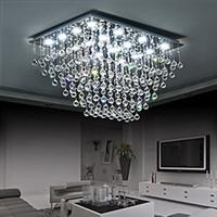 광장 K9 크리스탈 빗방울 샹들리에 룸 욕실 침실 거실 식사에 대한 플러시 마운트 LED 천장 조명기구 조명