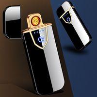 USB Şarj Çakmaklar Dokunmatik Ekran Sense Windproof Çakmak Çift Yan Yangın Elektronik Çakmak Taşınabilir Metal Çakmaklar BH2616 TQQ