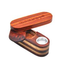 Caso Stash de madera natural Tubo fumadores Girar la hierba de la caja de almacenaje de tabaco portable del sostenedor de Handpipe innovador diseño del filtrado recipiente de metal