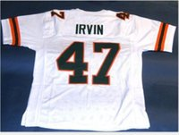 Custom Men Youth women Vintage #47 MICHAEL IRVIN CUSTOM MIAMI HURRICANES Football Jersey size s-5XL or custom any name or number jersey
