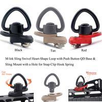 M-lok Sling Поворотный набор в форме петли в форме сердца QD Быстроразъемное основание Отверстие для защелкивающегося крючка Spring_Black / Red / Tan Цвета