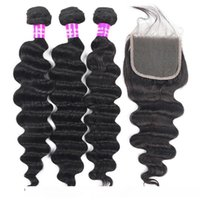 9a Brésil Virgin Hair 3 Bundles Avec 4x4 dentelle fermeture vague de corps droit Kinky eau profonde non transformé cheveux humains Weave avec dentelle Clo