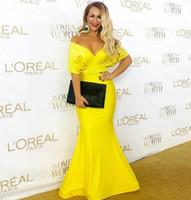 Atractivo del traje de soirée amarillo largo con cuello en V vestidos de noche de la sirena Vestido de festa cremallera plisada Abendkleider Prom Vestidos para mujeres