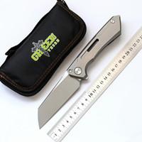 الأخضر شوكة سنك المغفل M390 الطي سكين التيتانيوم مقبض النحاس طوقا التخييم الصيد الجيب مجموعة سكاكين الفاكهة أدوات edc