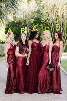 Mantel sexy billig pailletten burgund brautjungfer kleider verschiedene stile gleich farbe plus größe langes formal prom mädchen von ängst kleider 2019