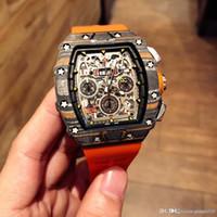 RICO6-1 Luxus Herrenuhr Uhrwerk Uhr, RM-11, LMC LAST EDITION Flyback-Chronograph LOTUS F1 TEAM-Serie. Kohlefaser Fall Gummi