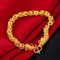 Womens Mens Pulseira de ouro 18k amarelo Cheio filigrana pulso Chain Link Com Dragon Head Design de Moda Presente Jóias