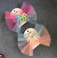 Clips de pelo de unicornio muchachas del arco iris Barrettes animal de la historieta de las horquillas de arcos grandes Hairclips Diseñador Accesorios para el cabello libre de envío DHW3435