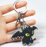 Desdentado Keyring Night Fury Toothless jóias enforcamentos com chaves de cola suave em torno de animação Flying Dragon Key Link
