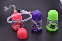 Minipompa da bong in plastica mini di Corful in plastica da 3 pezzi per fumare il tubo di olio d'acqua con tubo in silicone e ciotola di olio in vetro da 10 mm