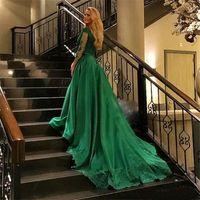 Формальные зеленые платья вечерняя одежда 2019 с длинным рукавом кружева аппликация бусины плюс размер Пром платья халат де вечер Эли Сааб вечерние платья