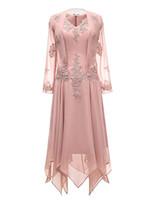 Setwell قطعتين الخامس الرقبة الشيفون الشاي طول الأم من فستان العروس طويلة الأكمام الدانتيل أثواب السهرة الرسمية مع سترة
