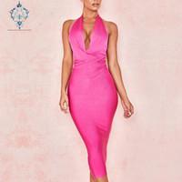Parti Elbiseler Cuerly 2021 Yaz Seksi Asılı Boyun Derin V Yaka Abiye Elbise Diz Bandajı Üzerinde Sıkı Elastik
