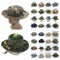 Katlanabilir Ordu Kova Şapka Spor Balıkçılık Erkekler Kadınlar Kovboy Boonie Şapka Kamuflaj Jungle Askeri Cap Yetişkin örgü Açık