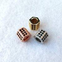 Cuentas CZ geométrico negro de moda para los brazaletes encantos joyería que hace granos del espaciador de DIY Accesorios CT544