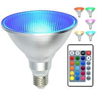 PAR38 LED RGB 투광 조명 전구 야외 / 실내 E27 색상 24 키 원격으로 방수 IP65 전구 변경