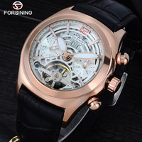 Forsining Convex Glass Stylish Tourbillion 3D Designer Genuine Leather Strap Mens Watches Top  Automatic Watch Clock