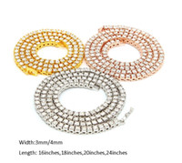 HIP HOP Bling Bling Diamant Glafe Out Tennis Chaînes 1 rangée 3mm / 4mm Colliers de luxe Argent Clastique / Or Couleur Gold Hommes Chaîne Collier Bijoux