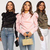 Women Satin Blouses 2019 Fashion Bow Neck Long Puff Sleeve B...