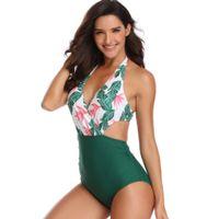 De gran tamaño de baño de una pieza Trajes de Baño de mujeres del traje de baño del vendaje de la impresión floral de una sola pieza Tamaño señora Bikini Plus