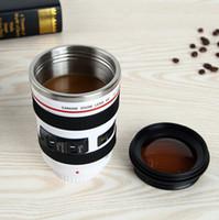 5 lente de la cámara de Generación taza 400ml Canon Creative portátil de vacío del acero inoxidable del viaje tazas Taza Vaso recipiente de leche de café de la novedad