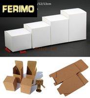 50шт / много-9 * 9 * (6-13) H коробки пустых белых бумаги Kraft Paper Carft Gift Box Косметические мыло ручной работа для хранения труб и вентилей упаковки