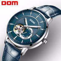 DOM Yeni Mavi Erkekler Skeleton kol saati Deri Antik Steampunk Casual Otomatik İskelet Mekanik Saatler Erkek Saat M-8104