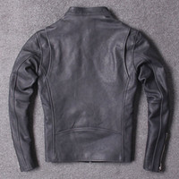 Del progettista di marca di lusso del Mens Leather Jacket Horsehide naturale Vintage Coats Slim Fit collare del basamento pilota rivestimento del motociclo Cappotto