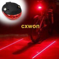 Luz de seguridad de la cola LED de bicicleta que incluye 2 * AAA Batería ADVERTENCIA Luz 5 LED 2 Láser Noche Bicicleta de montaña Lámpara trasera Luz de bicicleta