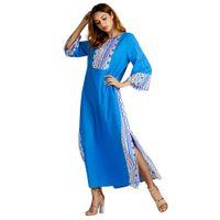 574dbc6bb6 Wholesale linen abaya dresses online - Muslim Fashion Women s Ethnic Style  Print Long Sleeve Party